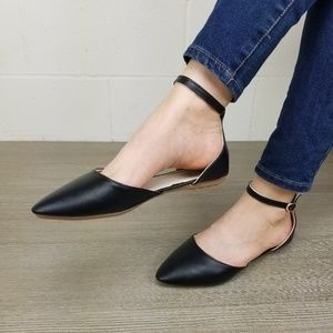 Shoes - Ankle Strap Pointed Toe Ballerina Flats-M13133